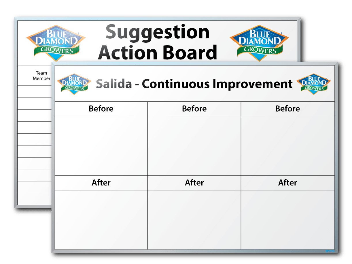 Blue Diamond Growers Suggestion Action & Continuous Improvement Dry Erase Boards