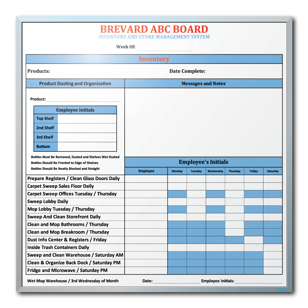 Brevard ABC Employee Duty Tracking Whiteboard