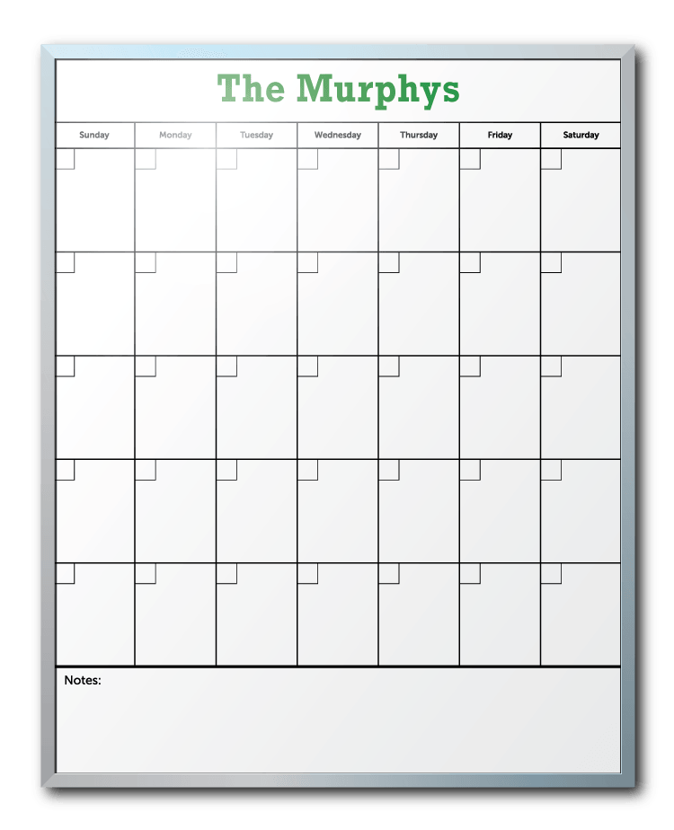Murphy Family Personalized Calendar Dry Erase Board