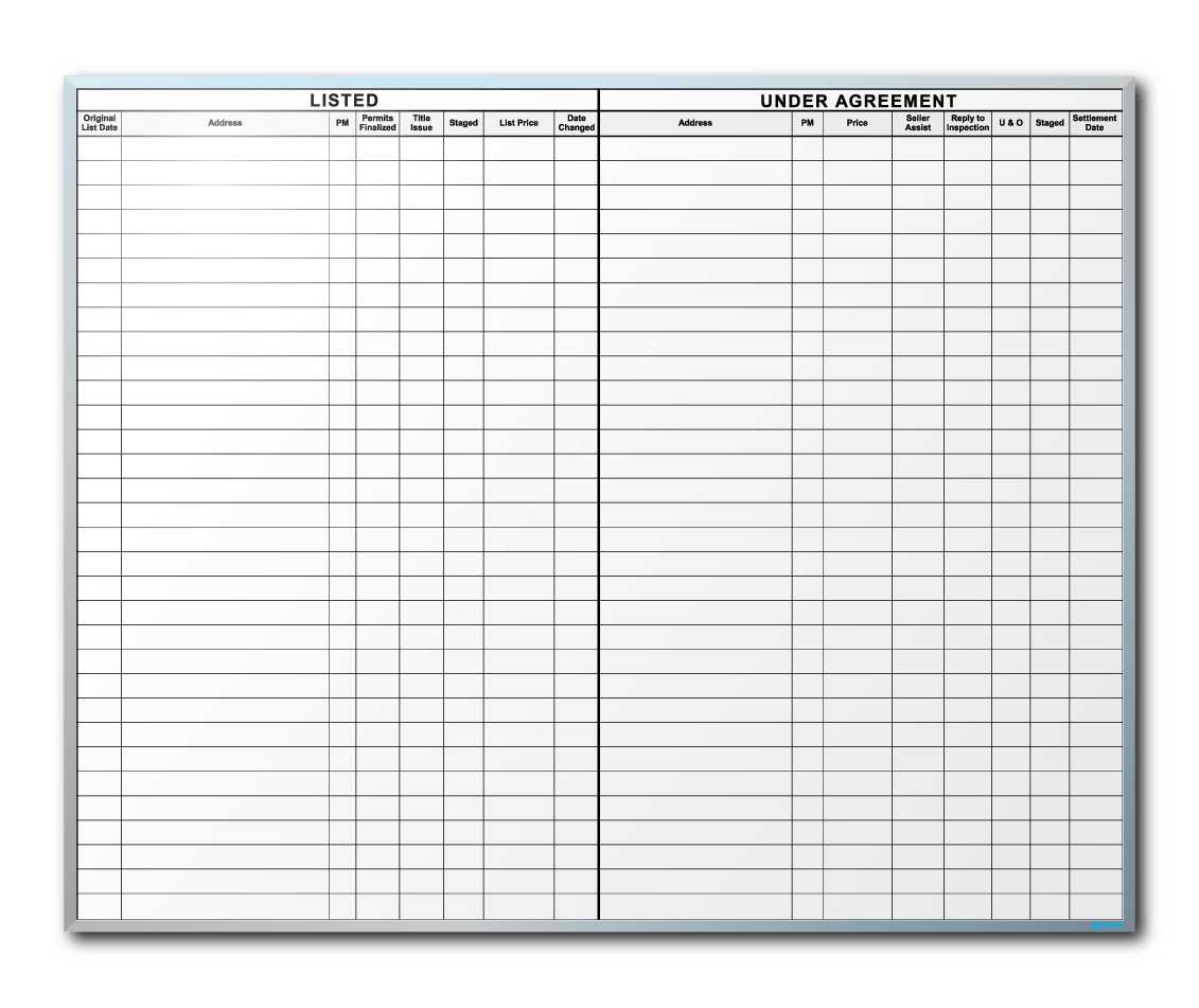 CJD Group Sales/Listing Tracker Dry Erase Board