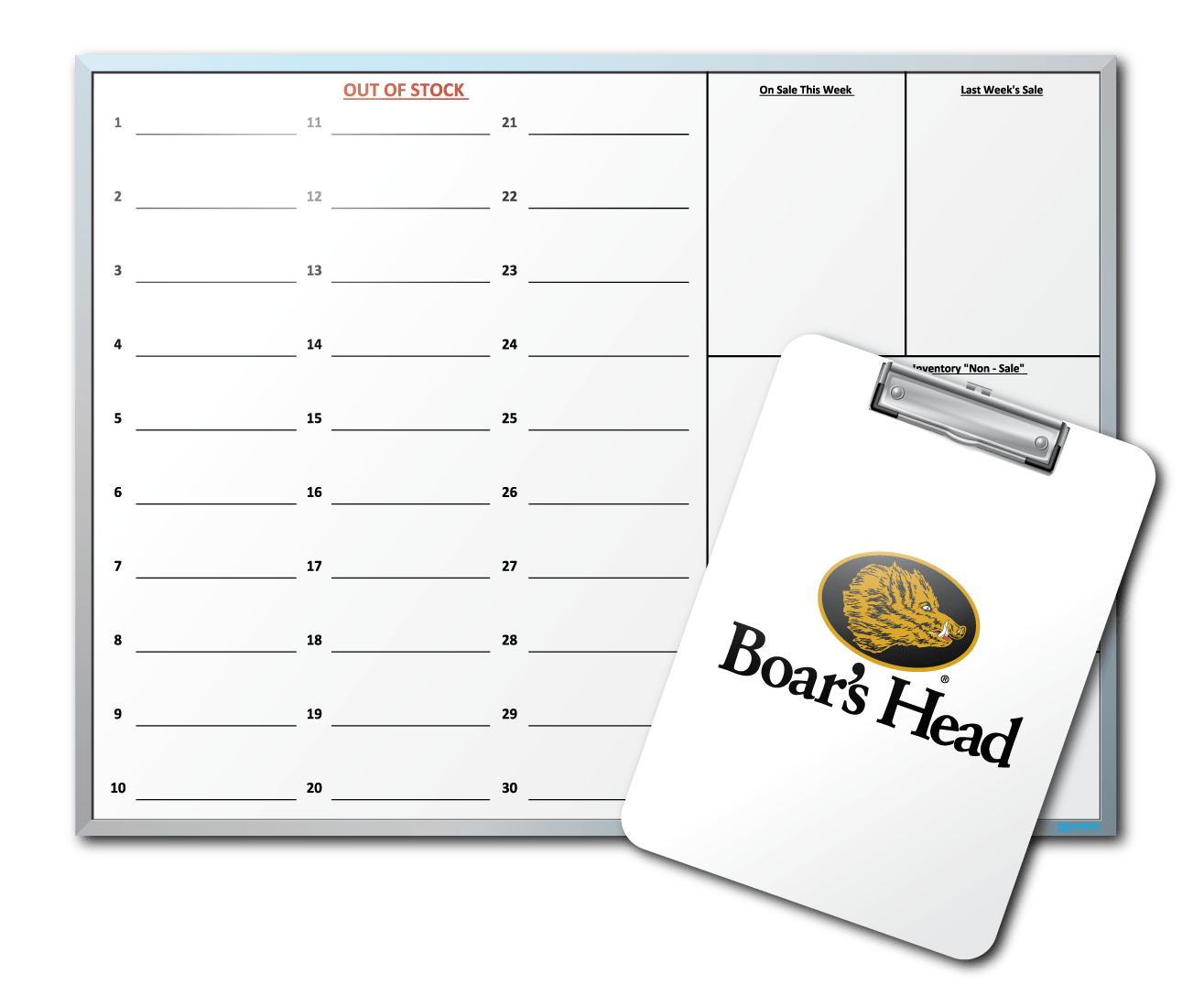 CTW Provisions Boar's Head Stock Tracking Dry Erase Clipboards