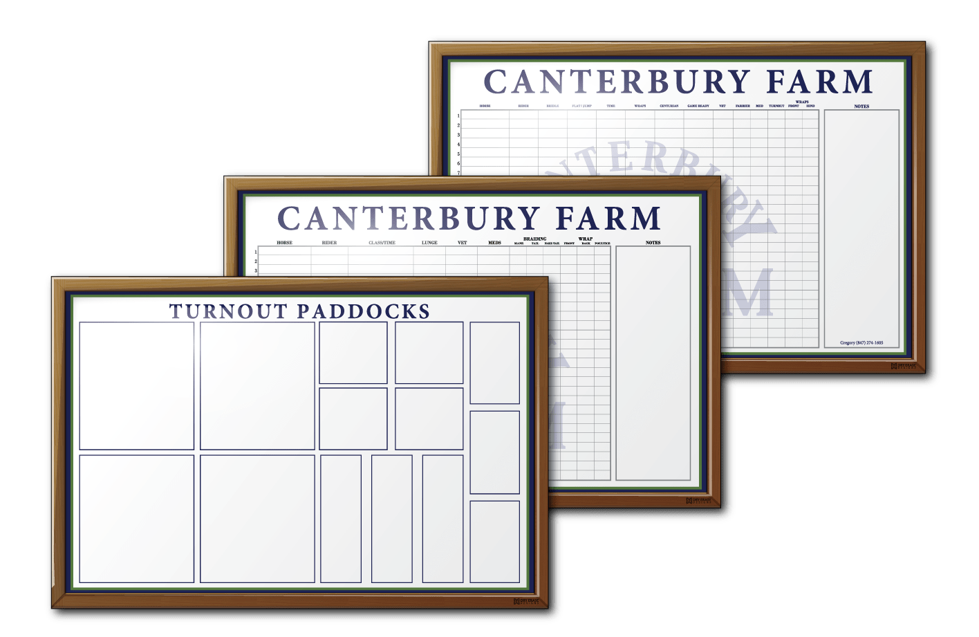Canterbury Farm Facility and Maintenance Tracking Dry Erase Boards