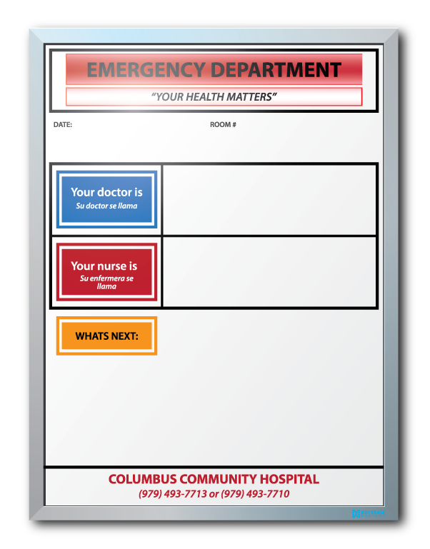 Columbus Community Hospital ER Patient Info Dry Erase Boards