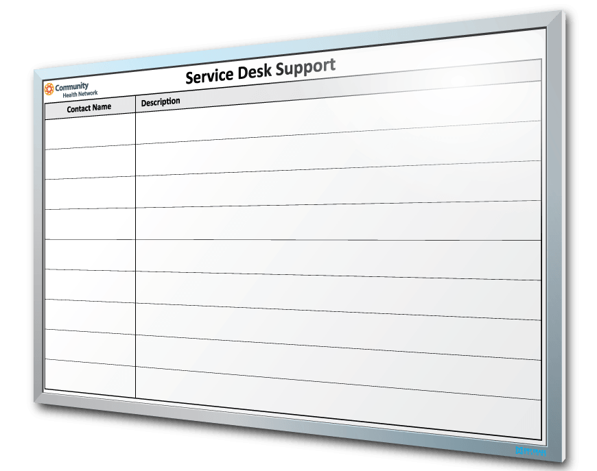 Community Health Network Service Desk Support Dry Erase Board