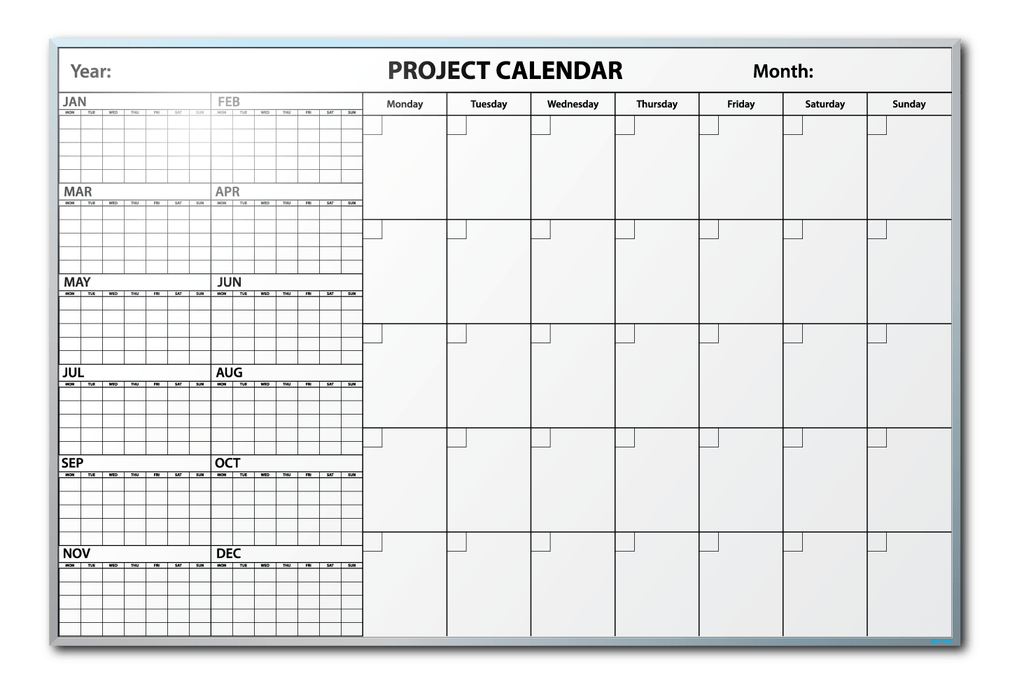 Falken Tires Project Tracking Calendar Dry Erase Board