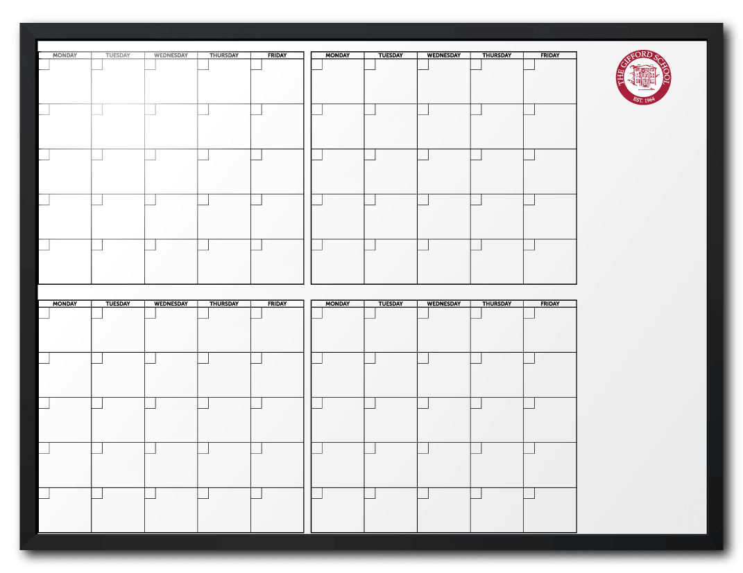 The Gifford School Customized 4MonthAtAGlance Calendar Dry Erase