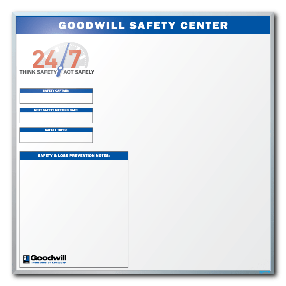 Goodwill Safety Tracking Dry Erase Board