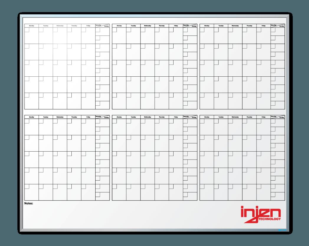 Injen Technologies 6-Month-At-A-Glance Calendar Whiteboard