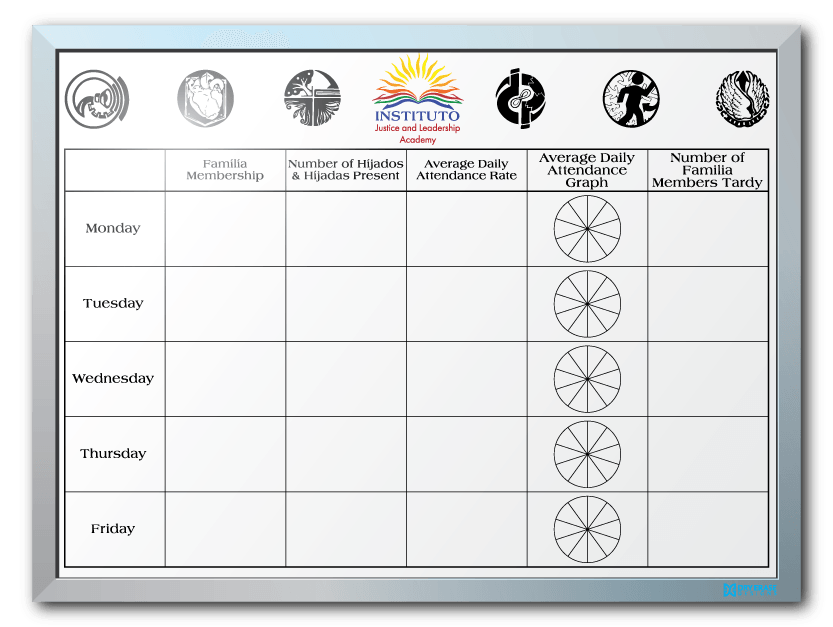 Instituto Justice & Leadership Participation/Attendance Dry Erase Board