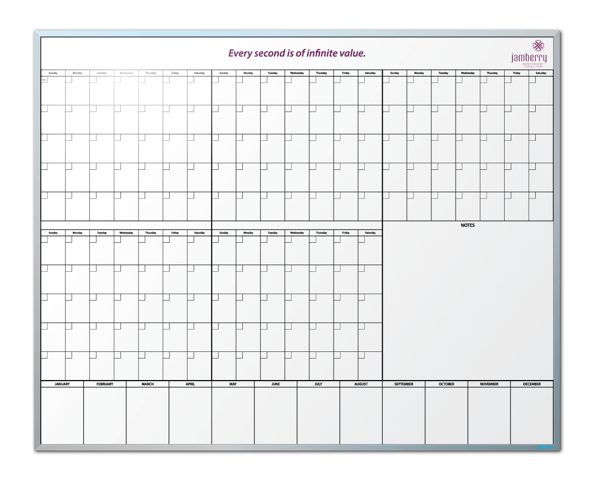 Jamberry 5-Month-At-A-Glance Dry Erase Board
