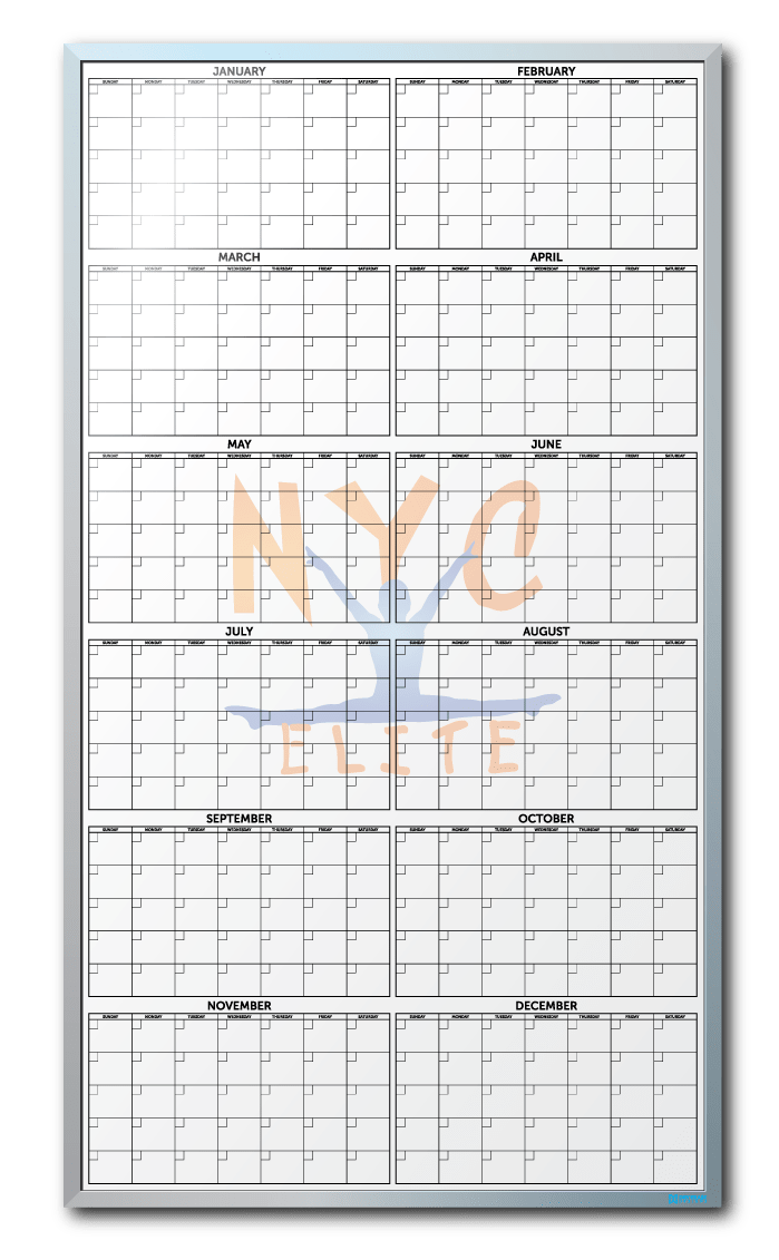 NYC Elite Gymnastics Customized Year-At-A-Glance Dry Erase Board