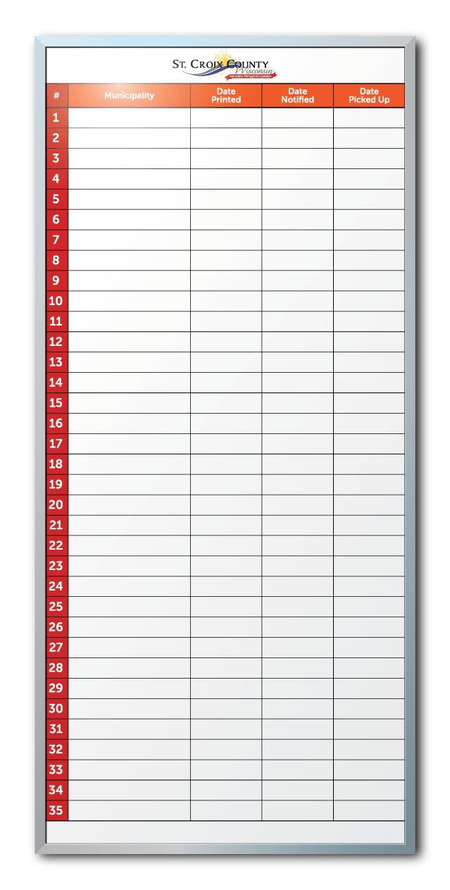 St. Croix County Tracking Info Dry Erase Board