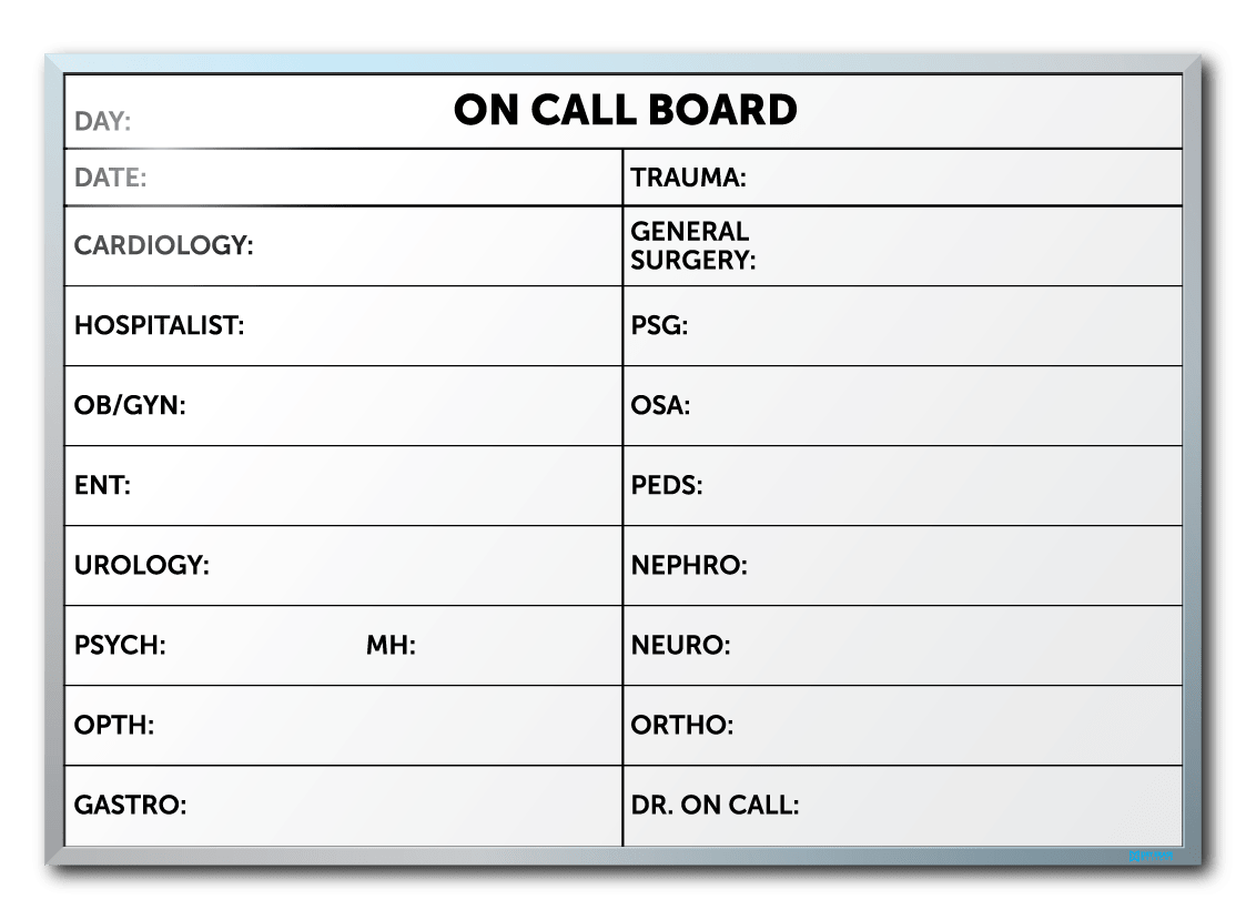 The Regional Medical Center On Call Dry Erase Board