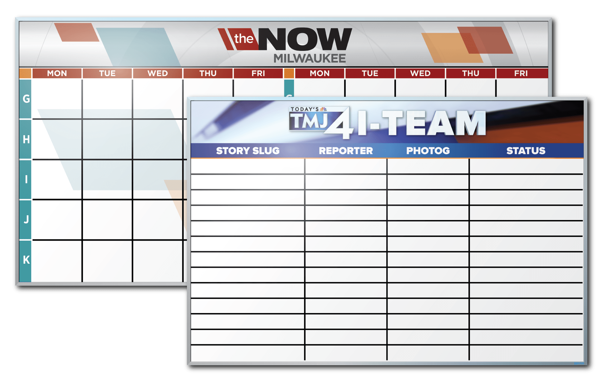 WTMJ TV Channel 4 Calendar and Tracking Dry Erase Boards