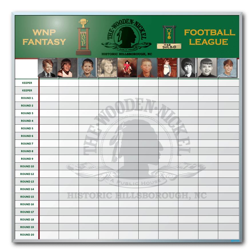 The Wooden Nickel Fantasy Football Draft Dry Erase Board